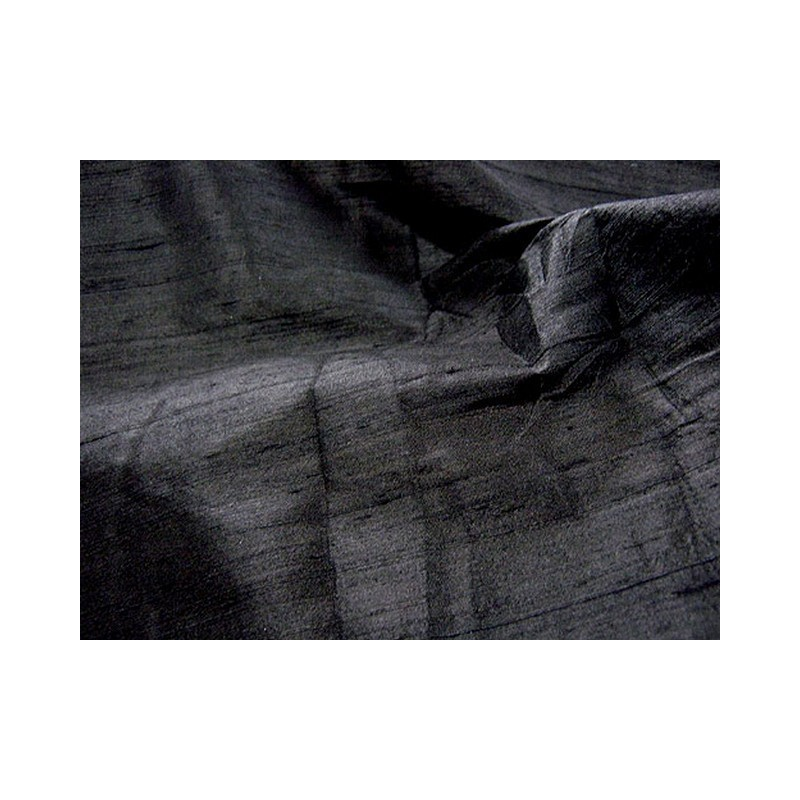 Black D145 Silk Dupioni Fabric
